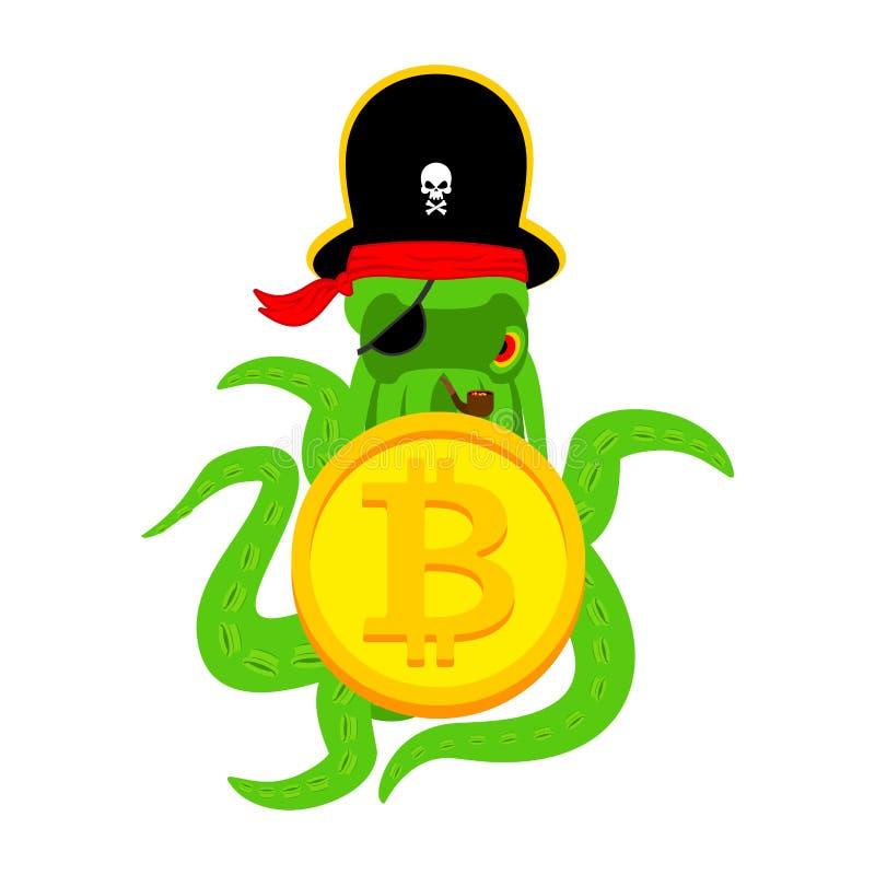 Pirate et bitcoin de Web de poulpe intrus Voleur et crypto illustration stock