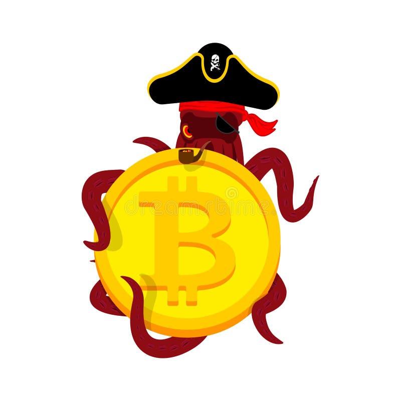 Pirate et bitcoin de Web de poulpe intrus Voleur et crypto currenc illustration stock