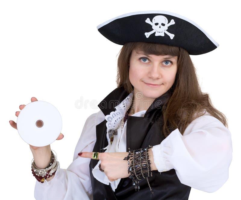 Pirate - femme avec le disque images stock