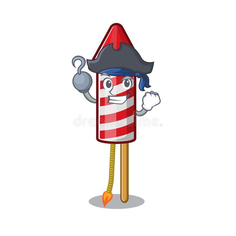 Pirate Fireworks Cartoon ha isolato il personaggio illustrazione vettoriale