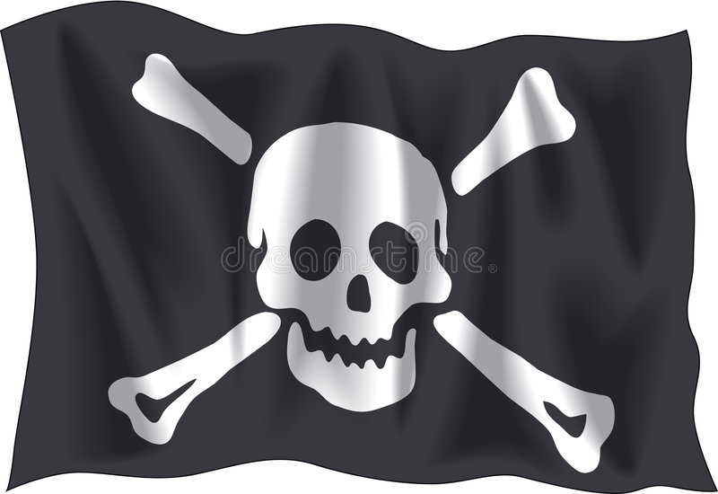 Pirate flag. Waving Pirate Emanuel flag isolated on white background