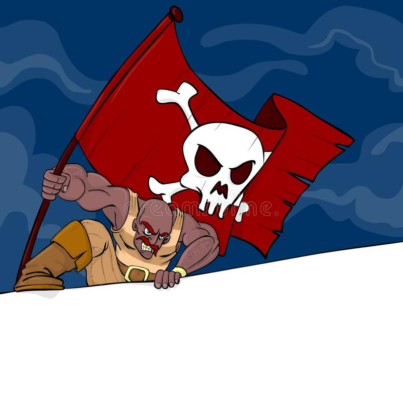 A pirate with a flag with a banner. A mad pirate attacking and holding a flag with skull; there is a banner for your text stock illustration