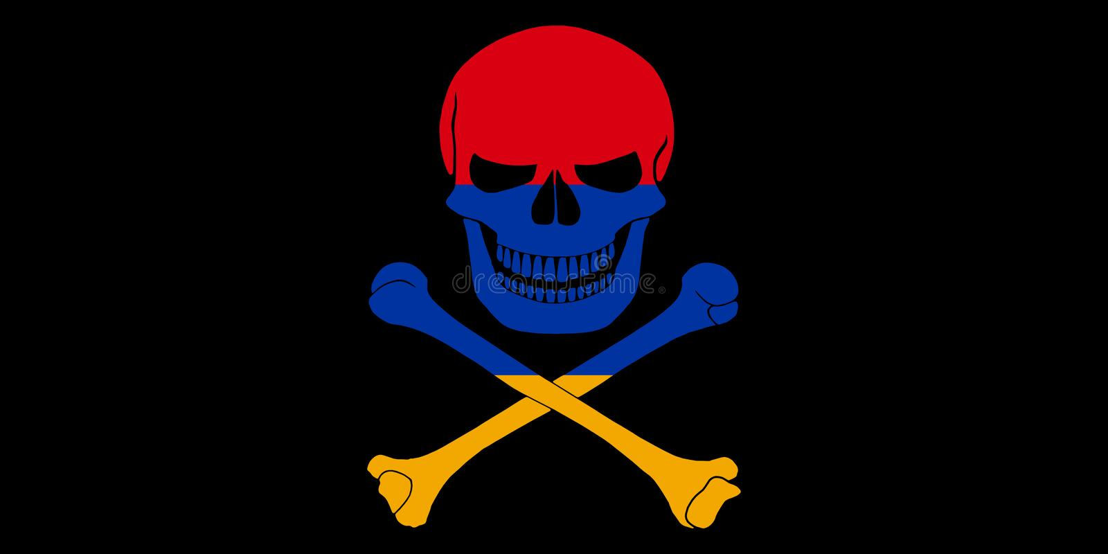 Pirate flag combined with Armenian flag. Black pirate flag with the image of Jolly Roger with crossbones combined with colors of the Armenian flag royalty free illustration