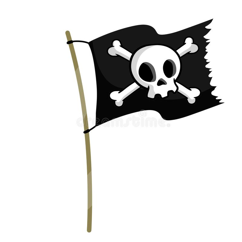Free Pirate Flag. Flagpole With Stick And Rope Stock Photo - 161616920