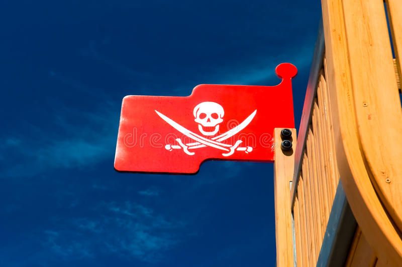 Pirate flag on plaything. The Pirate flag on plaything royalty free stock photos