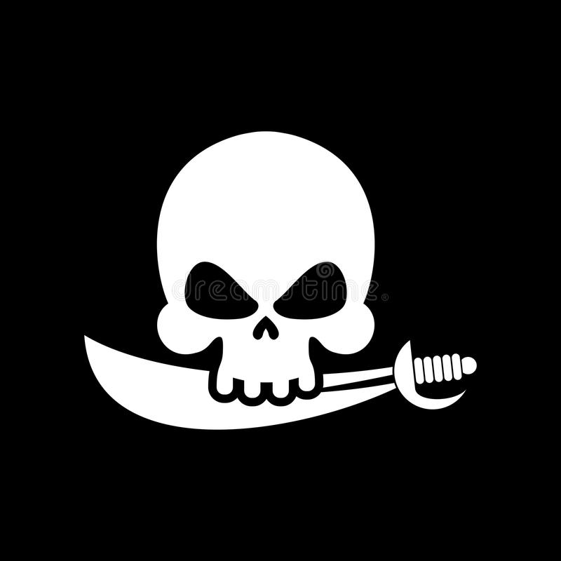 Pirate flag skull. Black Banner filibuster. Head skeleton pirate. S banner stock illustration