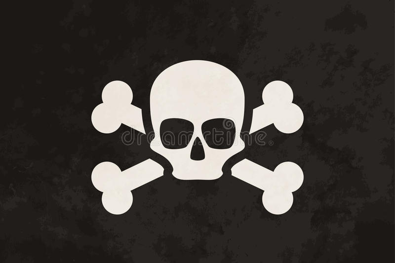 Pirate flag with skull and crossbones royalty free illustration