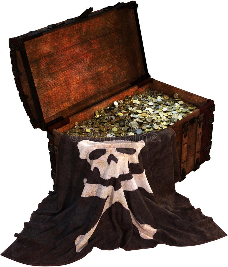 Pirate Flag Treasure Chest Isolated. Pirate treasure chest filled with gold and silver coins and other riches. A pirate flag is draped over the strongbox stock image