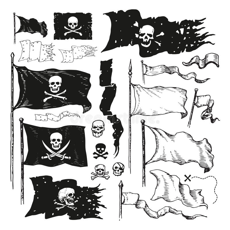 Pirate flags. A series of illustrations of Jolly Roger pirate flags and pennons and pennants vector illustration