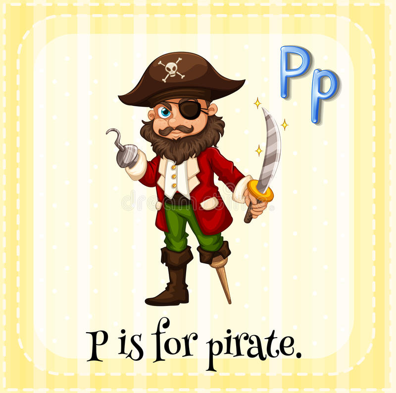 Pirate. Flashcard letter P is for pirate royalty free illustration