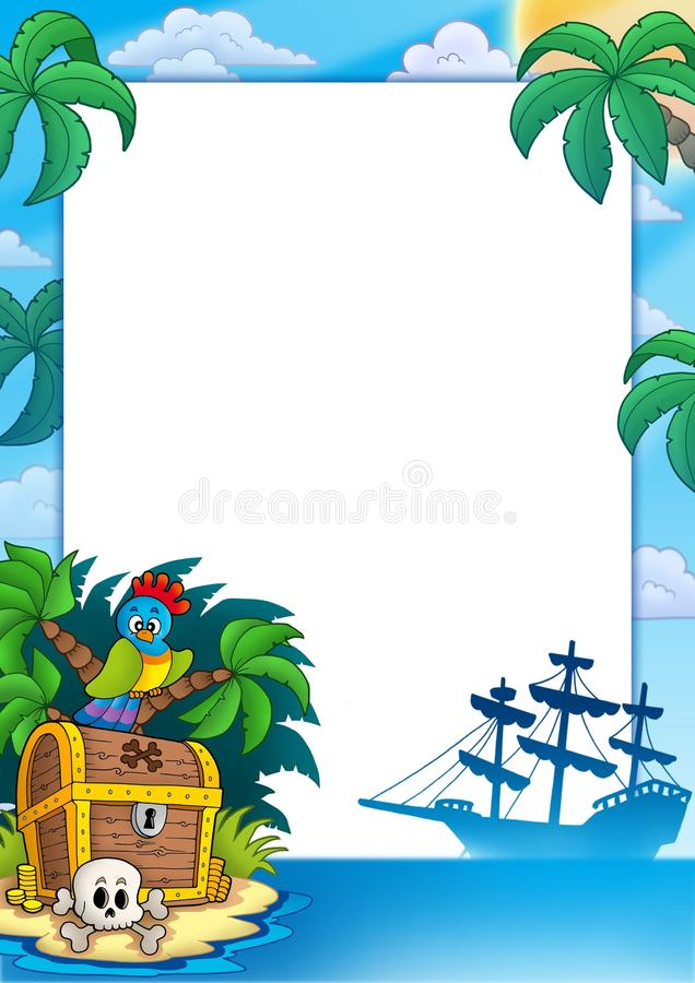 Pirate Frame With Treasure Island Royalty Free Stock Image
