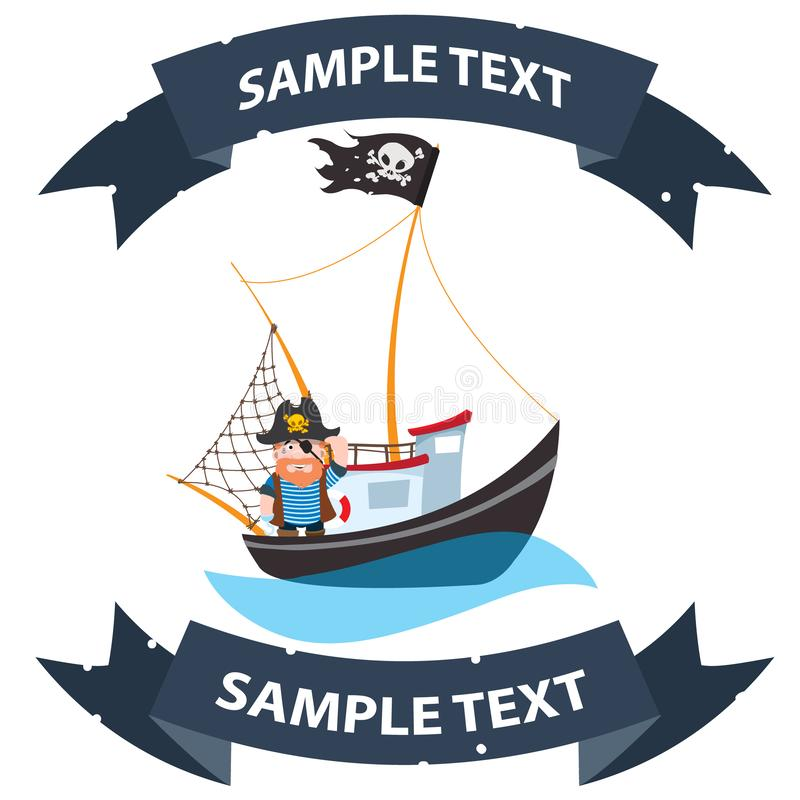 Pirate frigate with ribbon banner. Pictures on a naval theme.  vector illustration