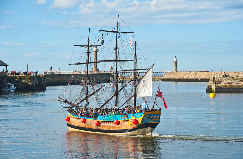 Pirate Galleon: Trips Round The Bay At Whitby Editorial Image