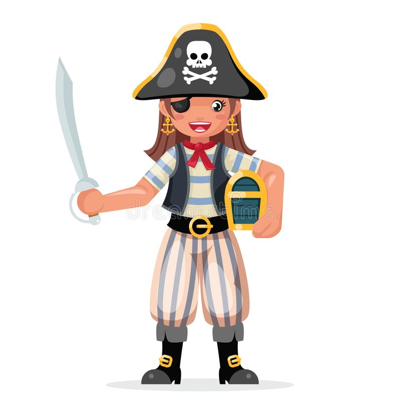 Pirate girl children costume masquerade teen party female character design vector illustration vector illustration
