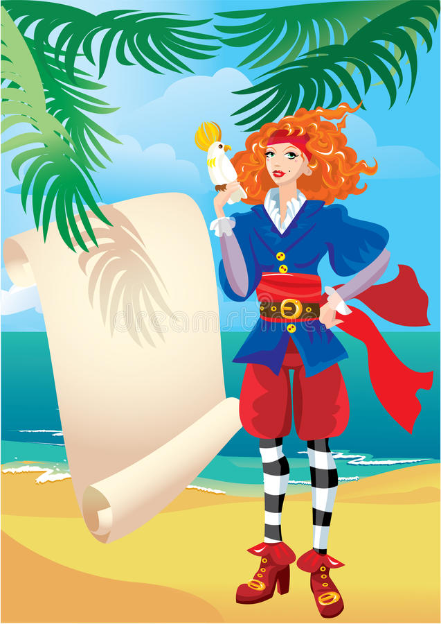 Pirate girl with parchment map and parrot vector illustration