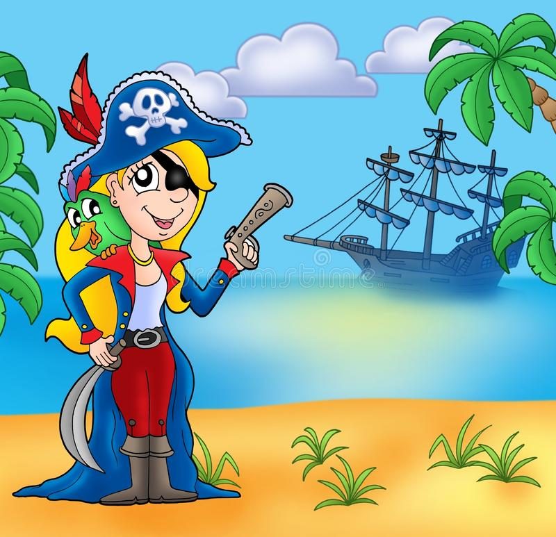 Free Pirate Girl On Beach 2 Stock Photography - 11436672