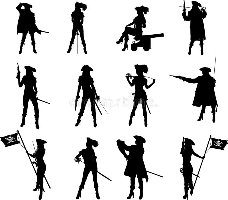 Pirate Girl Silhouettes royalty free stock photos