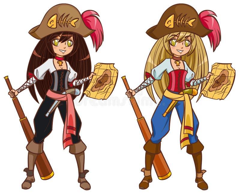 Pirate girl on treasure hunt royalty free illustration