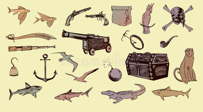 Pirate hand drawn sketch set illustration of buccaneer accessories. Vector filibuster drawing elements isolated. Pirate hand drawn sketch set illustration of stock illustration