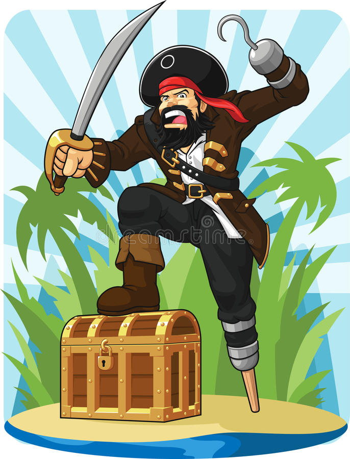 Pirate With His Treasure Chest Royalty Free Stock Image