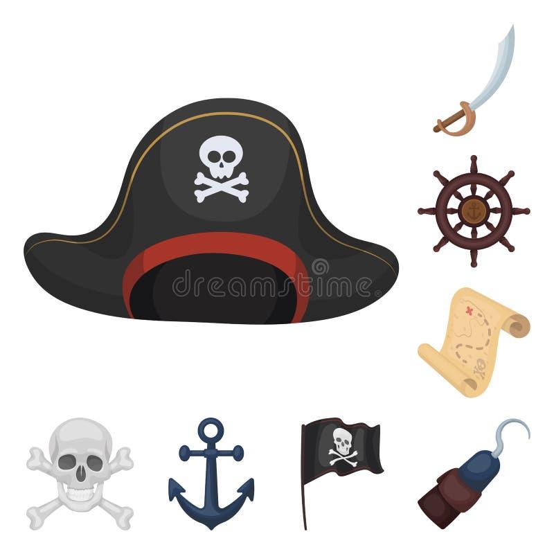 Pirate, icônes de bande dessinée de voleur de mer dans la collection d'ensemble pour la conception Trésors, Web d'actions de symb illustration stock