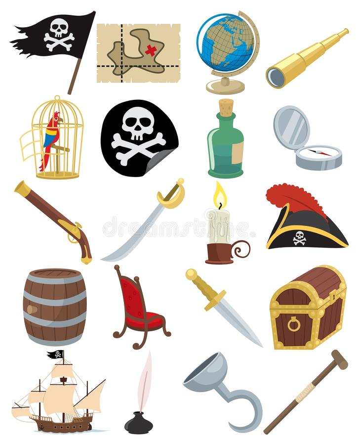 Download Pirate Icons stock vector. Image of black, compass, candle - 14245515