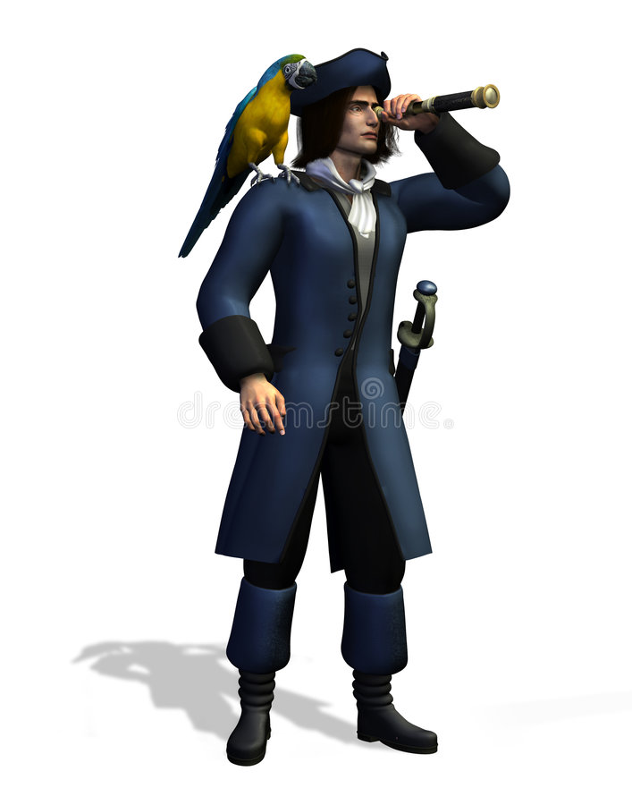 Pirate - includes clipping path. 3D render of a pirate with a parrot on his shoulder, looking through a spyglass royalty free illustration