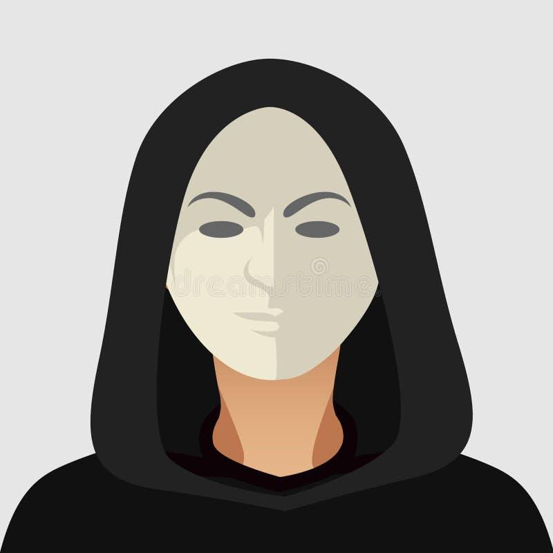 Pirate informatique avec le masque Homme mystérieux dans le costume noir avec le masque sur le fond blanc Icône d'agent de servic illustration libre de droits