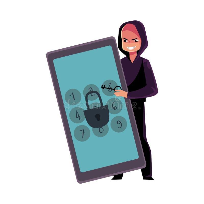 Pirate informatique cassant le téléphone, code de goupille de smartphone, serrure de fissuration d'écran illustration libre de droits