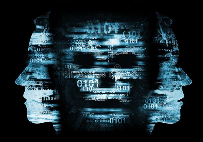 Pirate informatique, concept de crâne de virus informatique illustration libre de droits