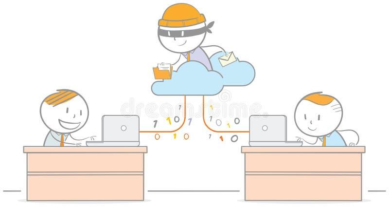 Pirate informatique détournant un réseau de nuage illustration libre de droits