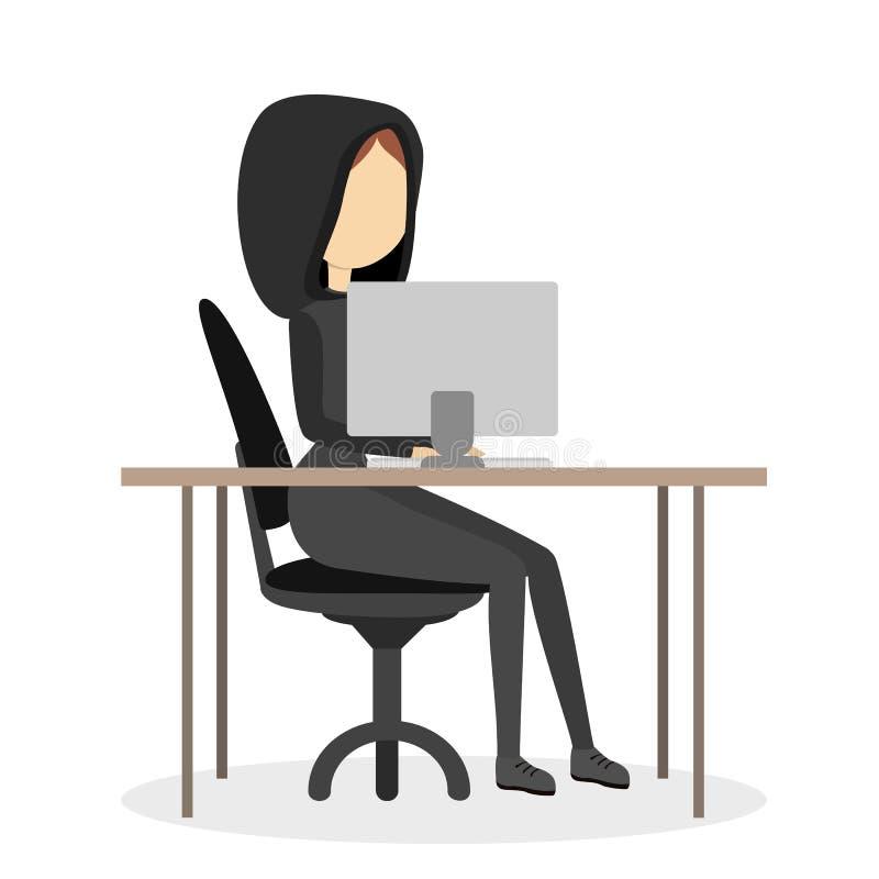 Pirate informatique d'isolement de femme illustration stock