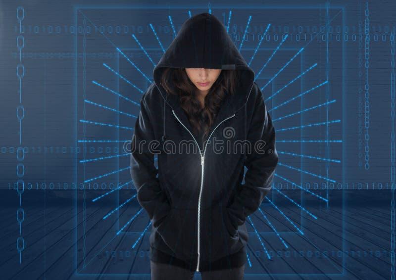 Pirate informatique de femme avec des mains dans la poche devant le fond bleu numérique photo libre de droits