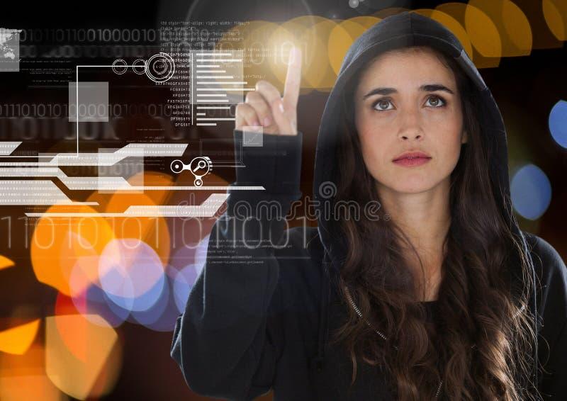 Pirate informatique de femme touchant un écran avec son doigt illustration stock