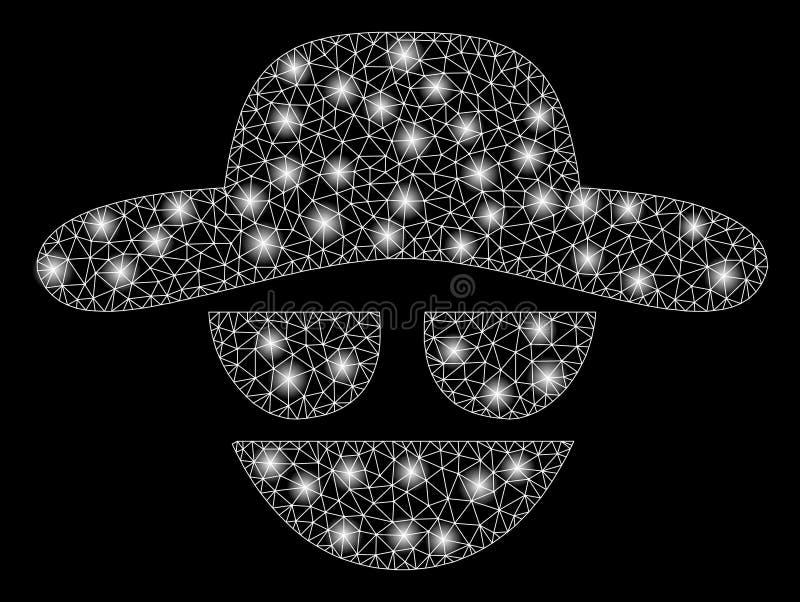 Pirate informatique de maille de fusée 2D avec des taches de fusée illustration de vecteur