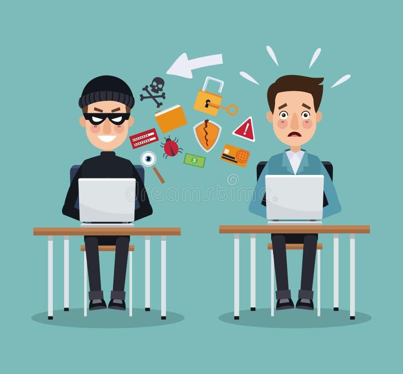 Pirate informatique de voleur de couleur de scène et homme de programmeur dans le bureau avec des ordinateurs portables empêchant illustration stock
