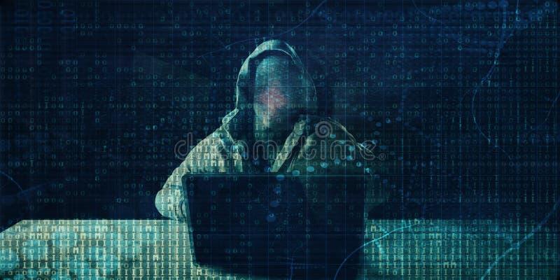 Pirate informatique en Front Of Computer illustration de vecteur