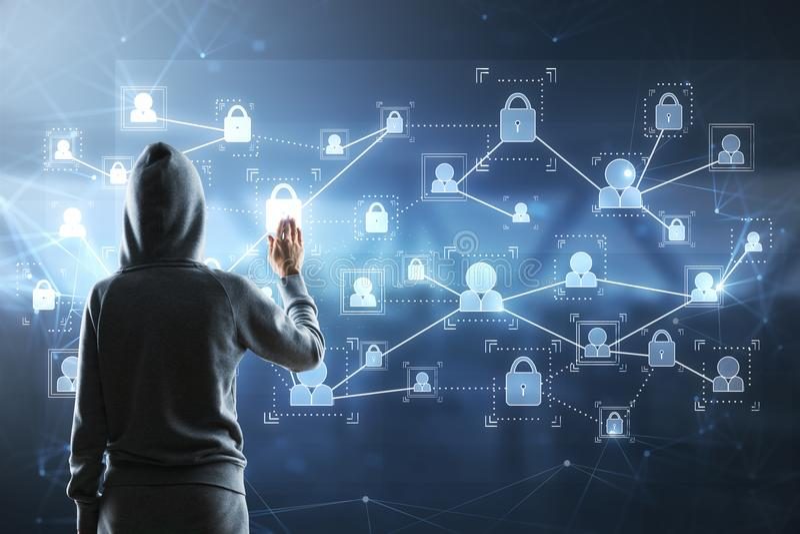 Pirate informatique et screne numérique image libre de droits
