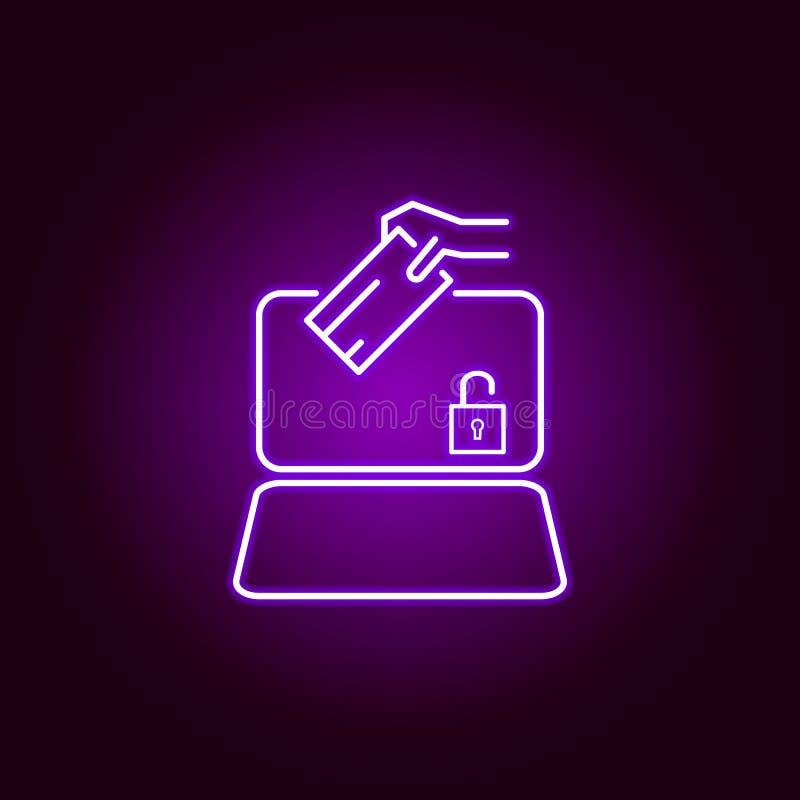 Pirate informatique, icône de vol dans le style au néon Peut ?tre employ? pour le Web, logo, l'appli mobile, UI, UX illustration libre de droits