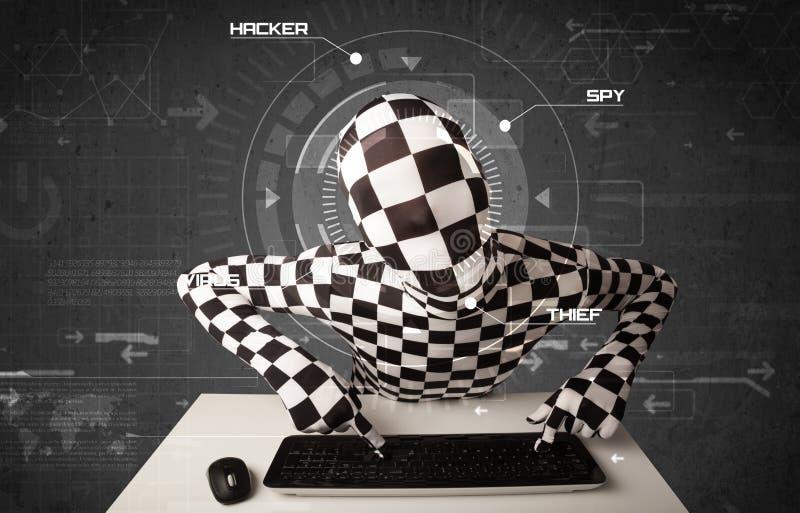 Pirate informatique sans identité dans l'environnement futuriste entaillant la Person illustration stock