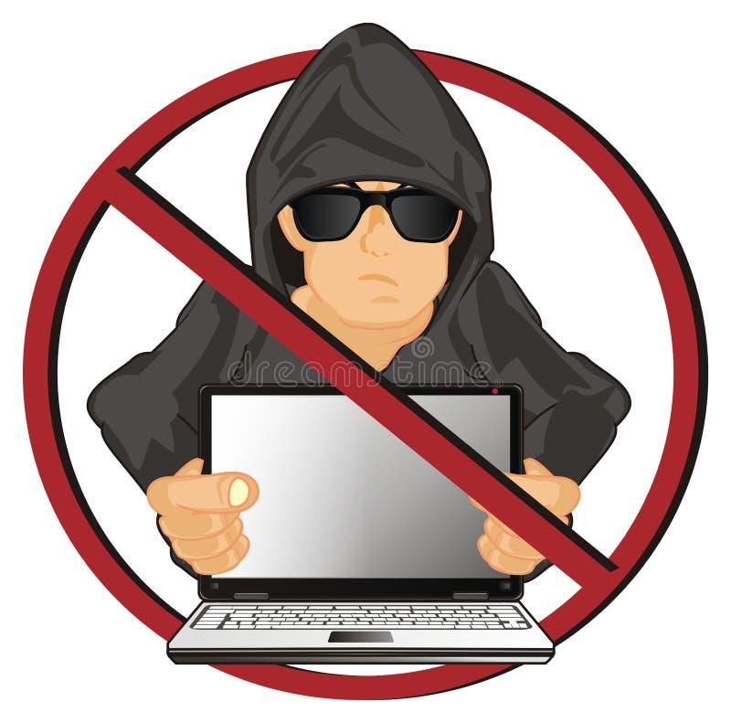 Pirate informatique sur l'interdiction rouge ronde illustration stock