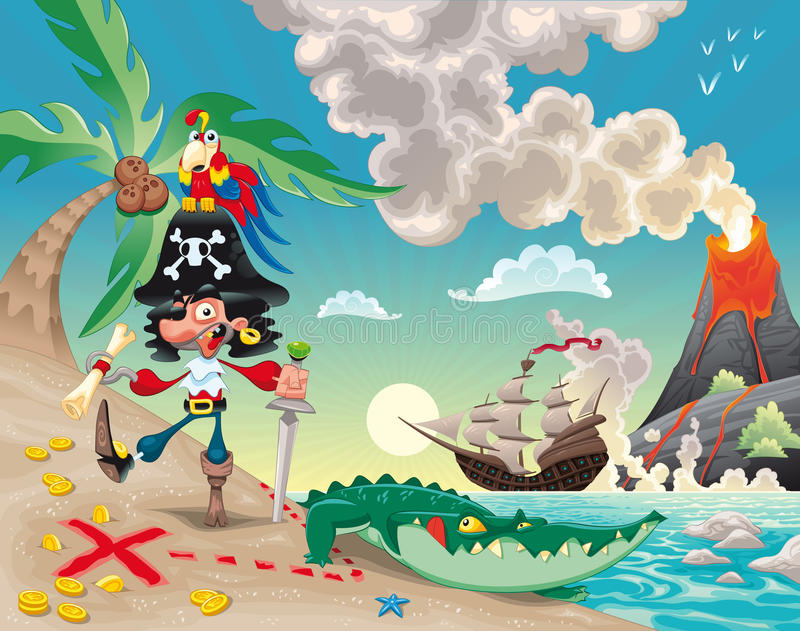 Pirate on the island. Funny cartoon and scene