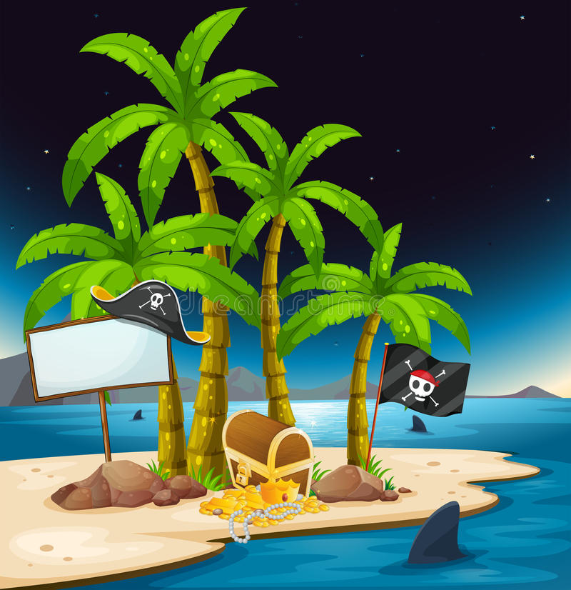 A pirate island with an empty signboard. Illustration of a pirate island with an empty signboard stock illustration