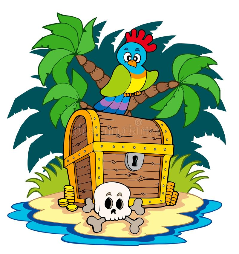 Free Pirate Island With Treasure Chest Royalty Free Stock Photos - 14243398