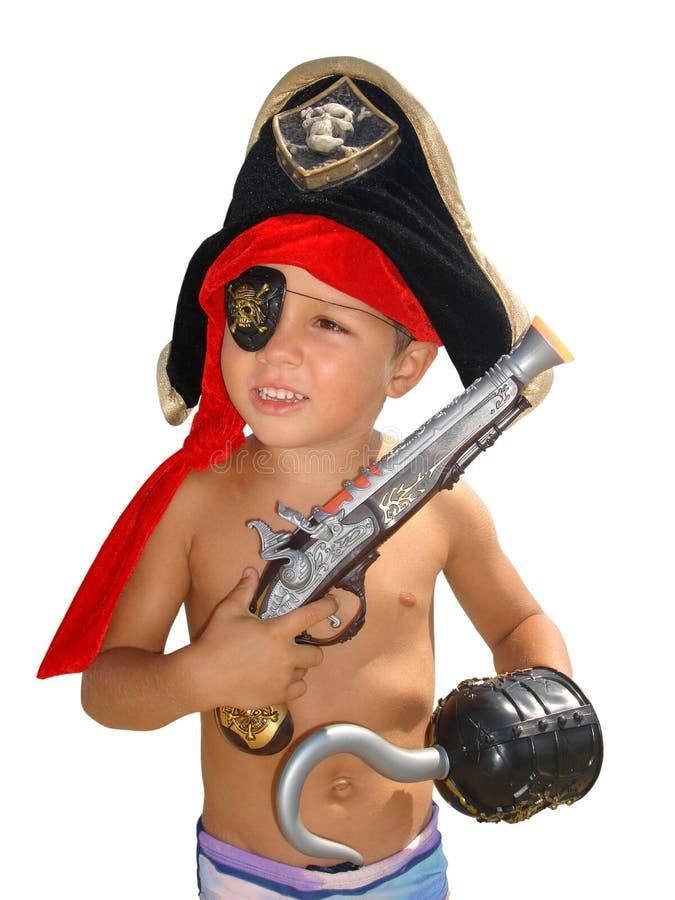 Pirate.Isolated pequeno feliz imagens de stock royalty free