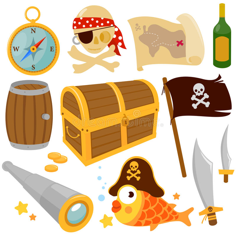 Pirate items vector set stock illustration