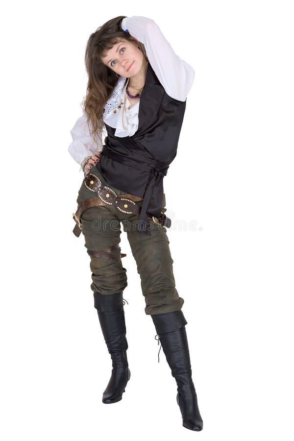 Pirate - jeune femme d'isolement sur le blanc images libres de droits
