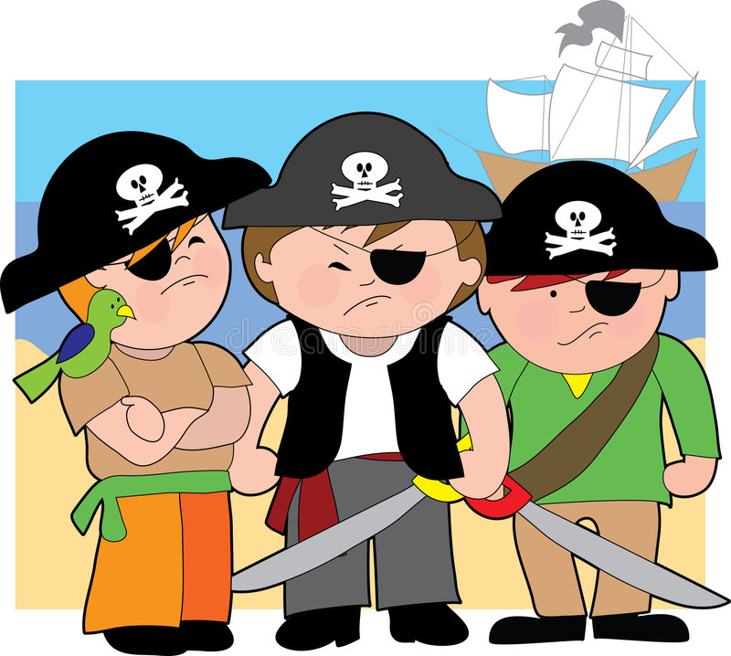 Pirate Kids of the Carribean. Three young boys dressed as pirates on the beach stock illustration