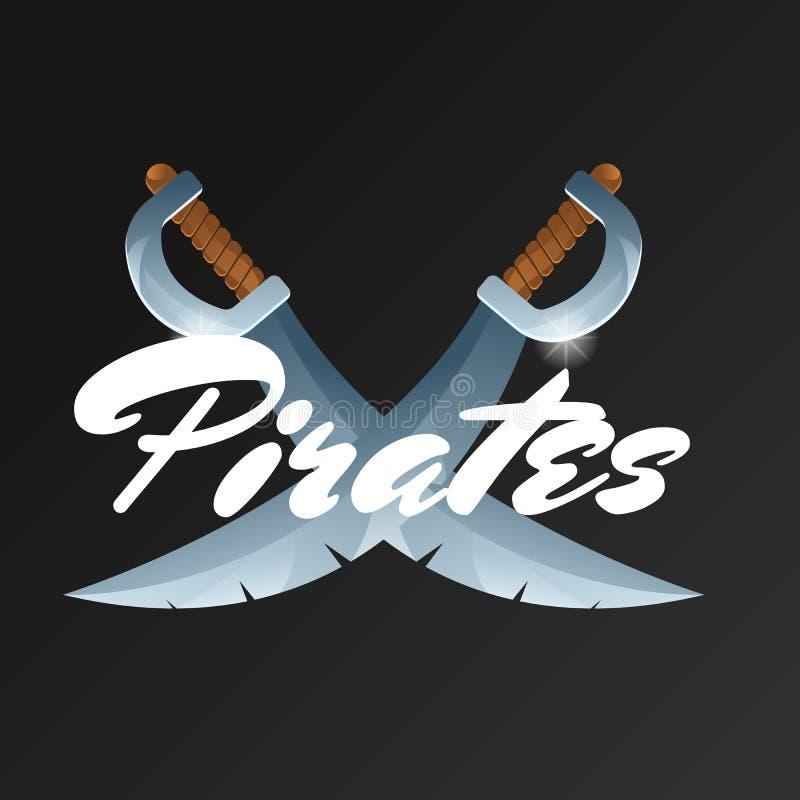 Pirate l'élément de jeu avec les épées croisées illustration libre de droits