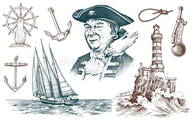 Pirate and Lighthouse and sea captain, marine sailor, nautical travel by ship. engraved hand drawn vintage style. summer. Adventure. Seagoing vessel and rope royalty free illustration
